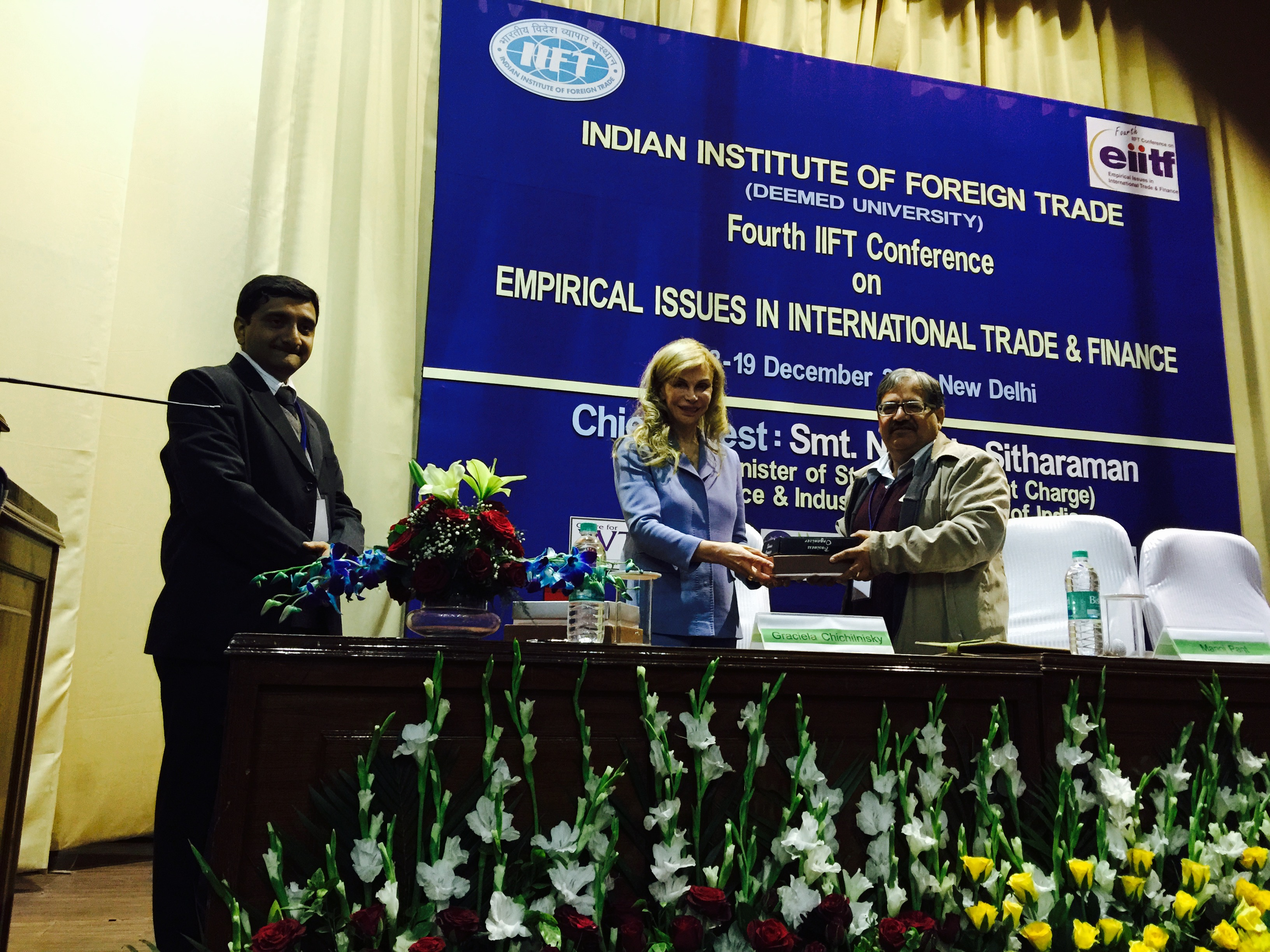 Graciela receiving an award at the Indian Institute of Foreign Trade's fourth IIFT conference for her key note opening speech titled